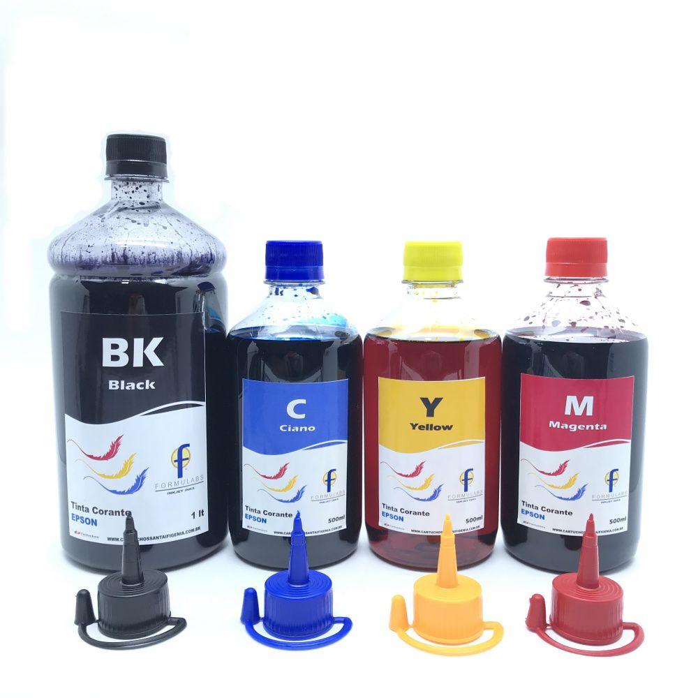 Kit de Tinta Corante Formulabs Para Ecotank Epson Preto Litro Color 500 ml