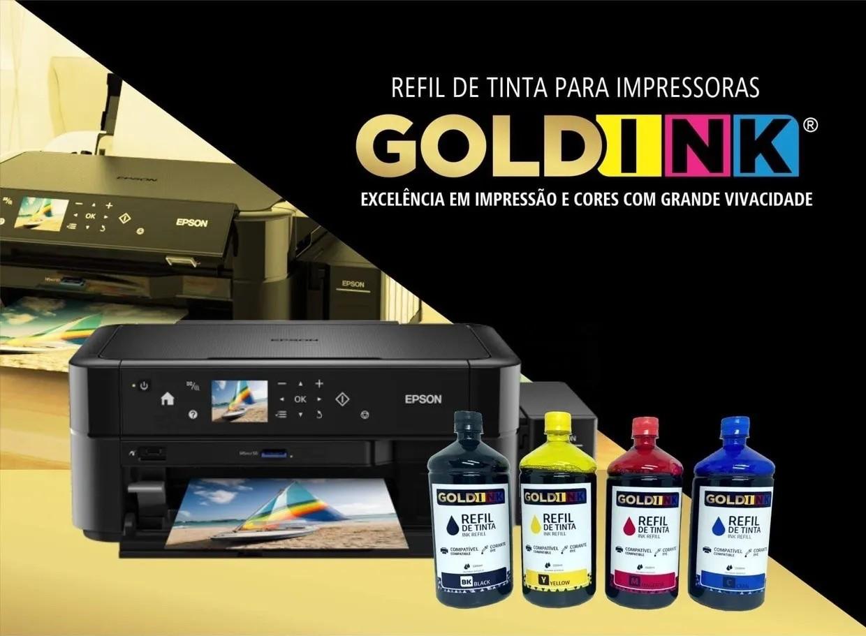 Kit de Tinta Corante Gold Ink 4 Litros Ecotank para Impressoras Epson