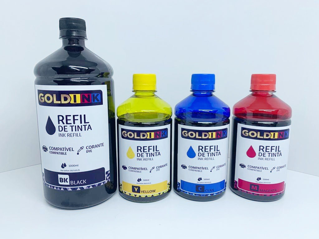 Kit de Tinta Corante Gold Ink Para Ecotank Epson Preto 01 Litro Color 500 ml