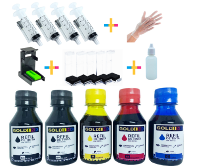 Kit recarga Universal 200ml Tinta Bk / 300ml Tinta Color