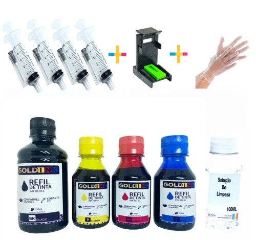 Kit recarga Universal 250ml Tinta Bk / 300ml Tinta Color