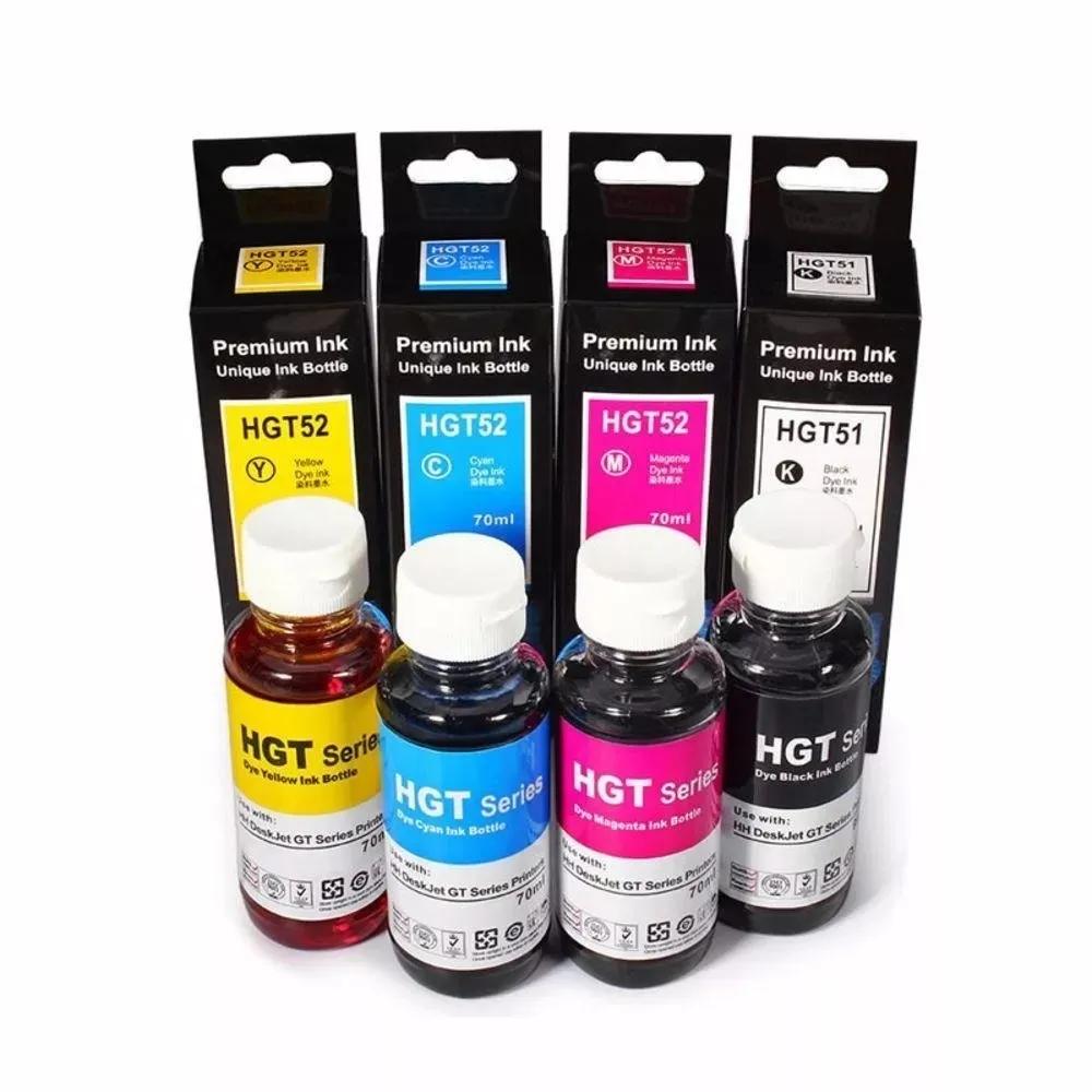Kit Refil de Tinta Compatível para HP GT51/ GT52 Deskjet GT 5822/ M0h54a/ M0h55a/ M0h56a/ M0h57a/ 5822