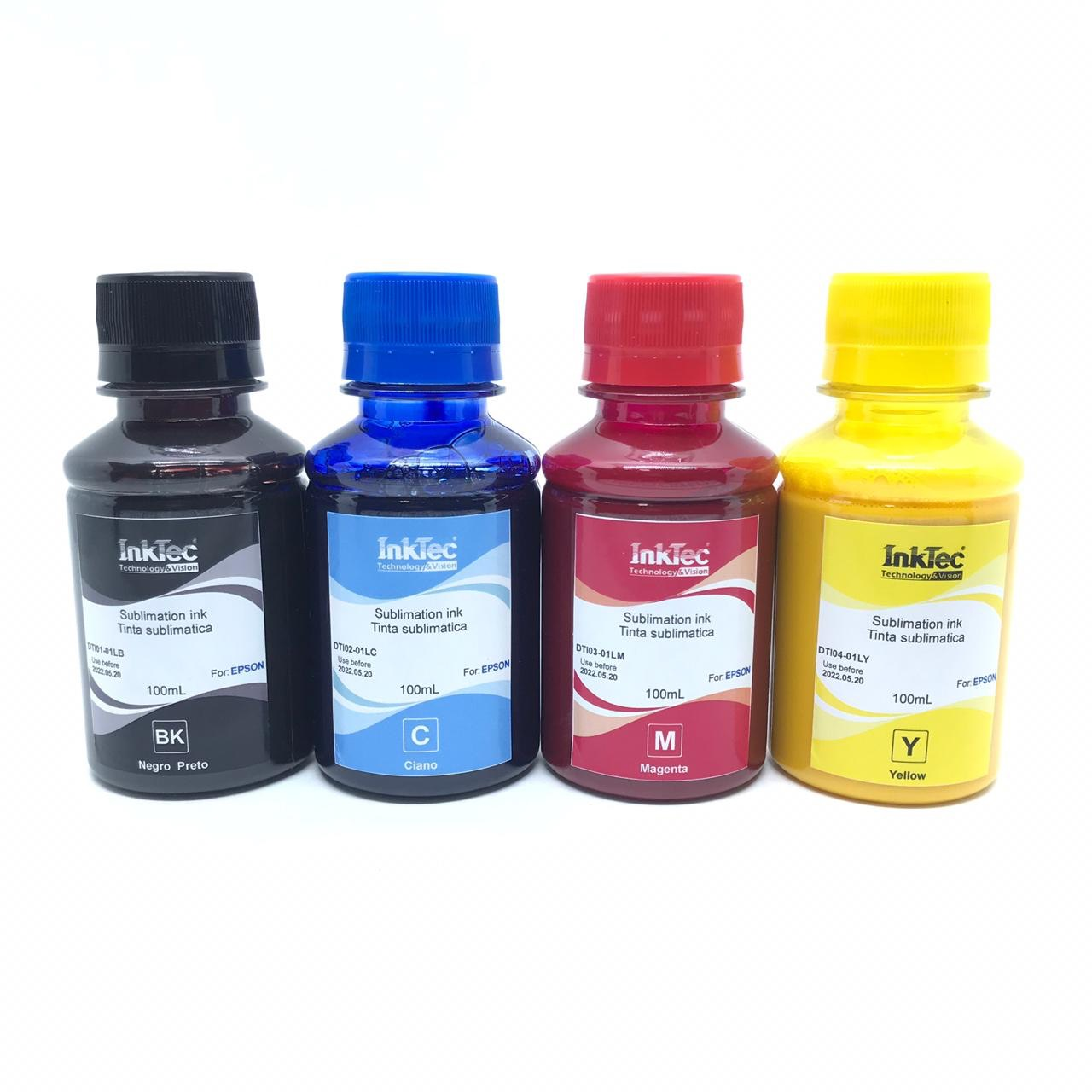 Kit Tinta Sublimática 400 ml Inktec + Papel Sublimatico A4 100 Folhas