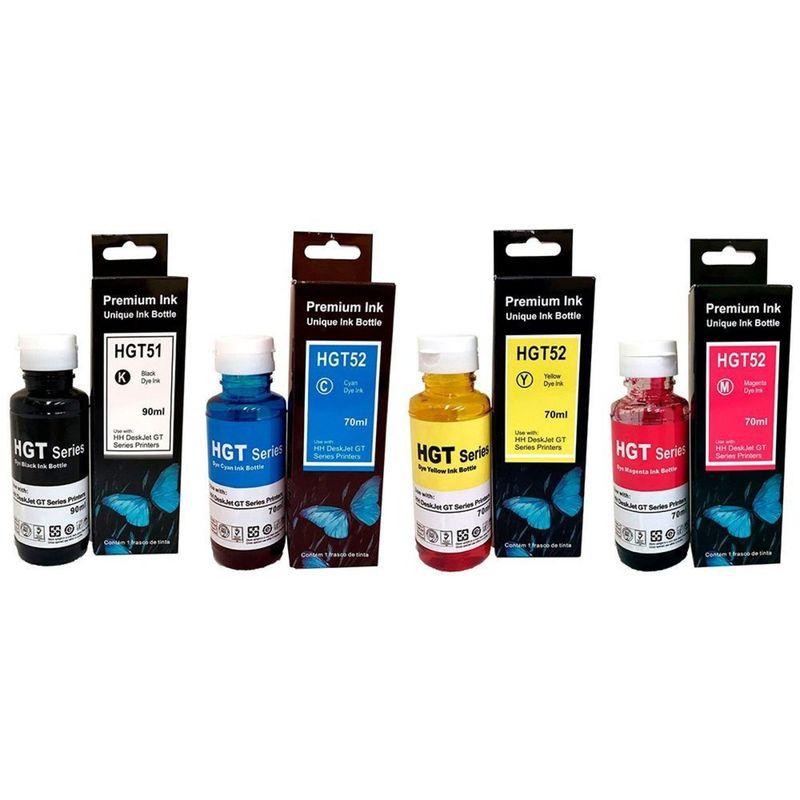 Refil de Tinta Compatível p/ Impressora HP GT51/ GT52 - Deskjet GT 5822/ M0h54a/ M0h55a/ M0h56a/ M0h57a/ 5822