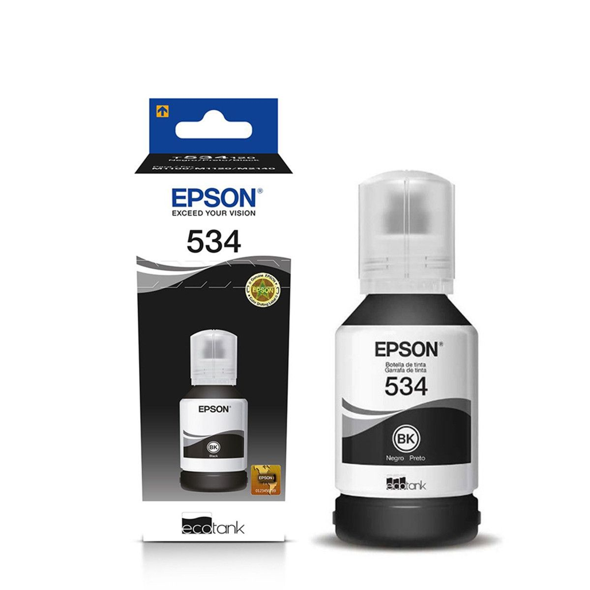 TINTA EPSON T534120 PRETO   M1120 M3180 M2170 M1180 M-3180 M-1120 M-2170 M-1180   ORIGINAL 120ML