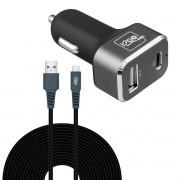 carregador veicular ultra rapido + cabo micro usb 3 metros