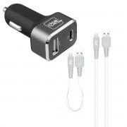 carregador veicular ultra rapido + kit cabos lightning