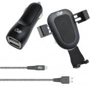 Kit veicular carregador suporte e cabo micro usb 1.5m nylon