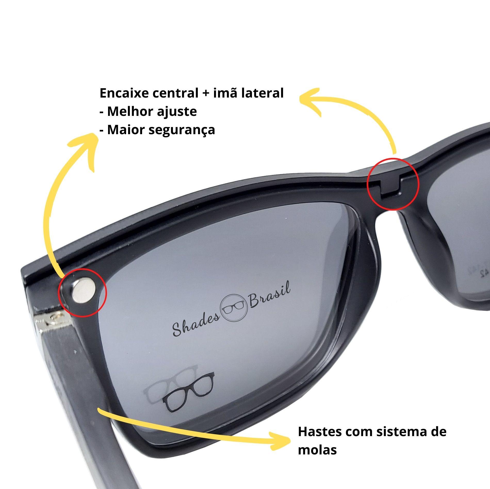 Armação de óculos com clip on solar e night drive Shades Brasil
