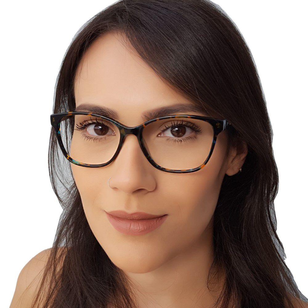 Armação De Óculos De Grau Feminino Acetato Com Strass