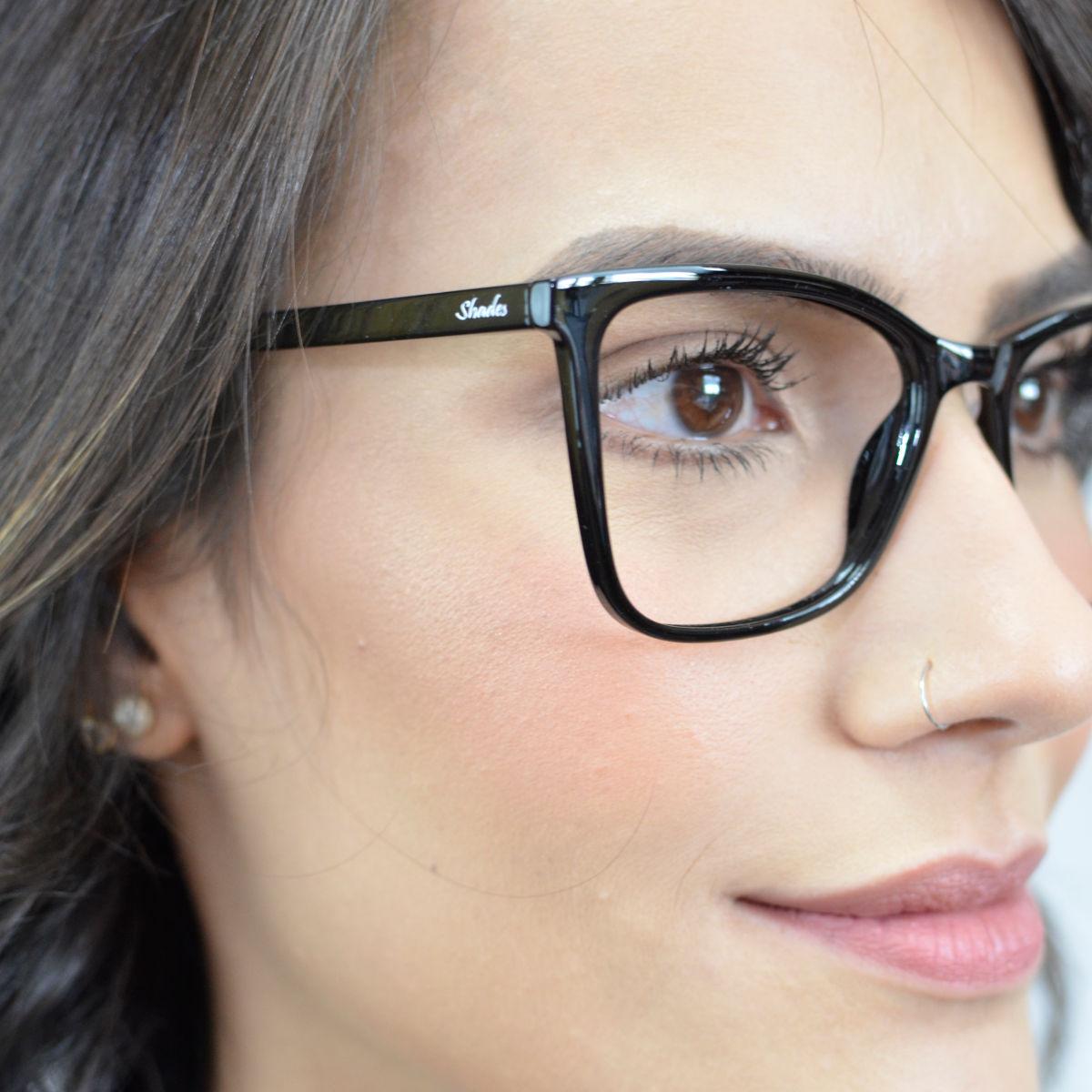 Armação de óculos feminino quadrado preto