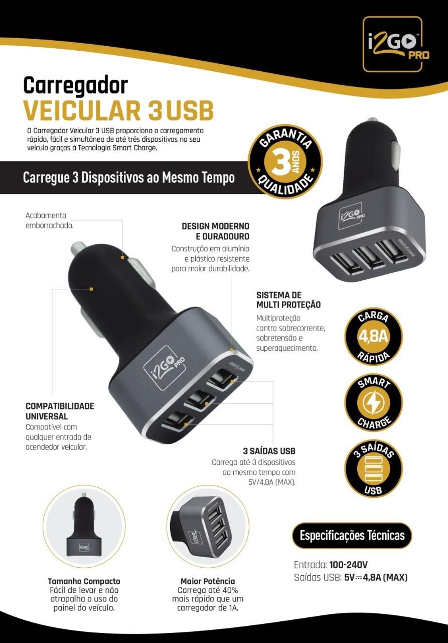 Carregador veicular 3 usb + cabo usb tipo-c nylon
