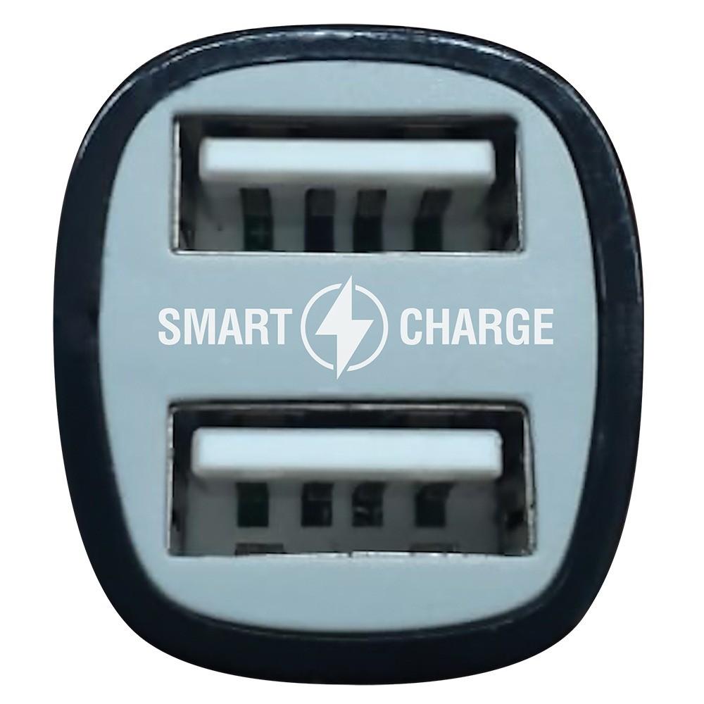 Carregador veicular smart charge 3,4A 2 USB + Cabo Micro USB 3 metros