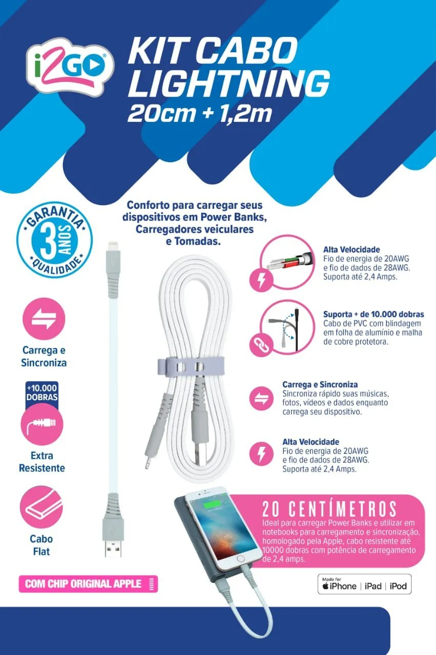 Carregador veicular smart charge 3,4A 2 USB + Kit cabo lightning