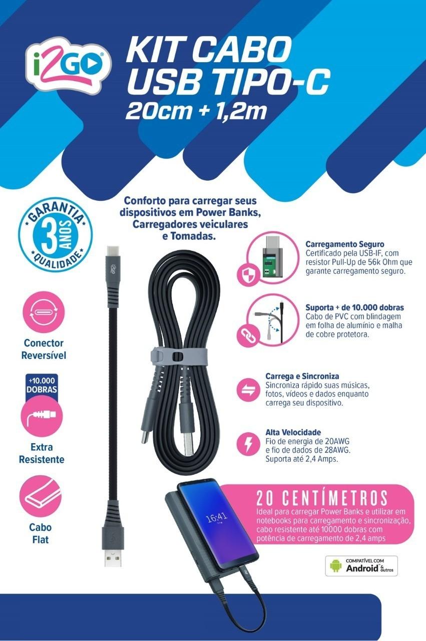 Carregador veicular smart charge 3,4A 2 USB + Kit cabo USB-C 1.2m e 20cm