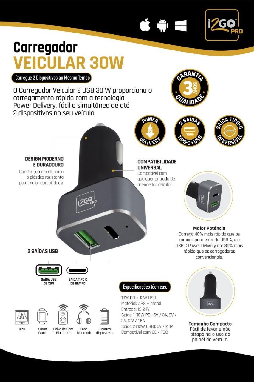 carregador veicular ultra rapido + cabo usb para tipo c reforcado