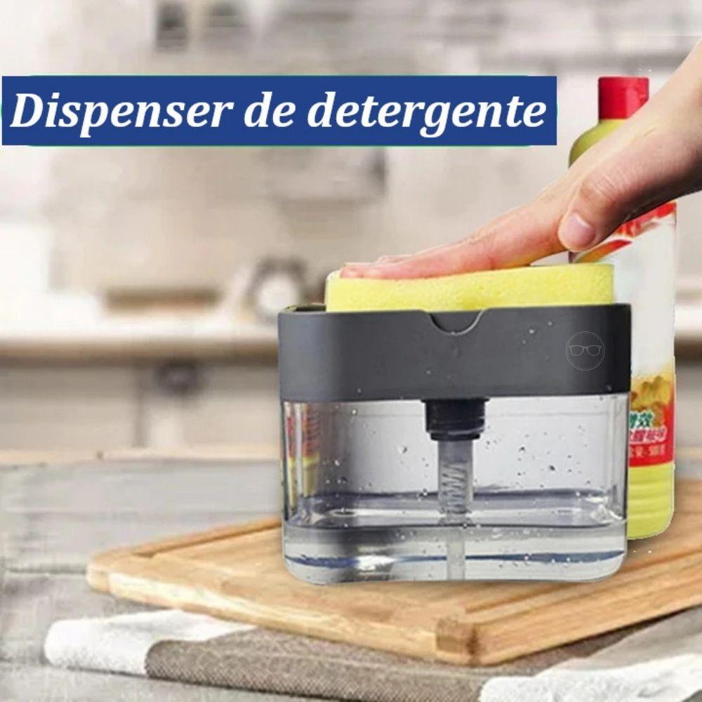 Dispenser de detergente por pressão com porta esponja
