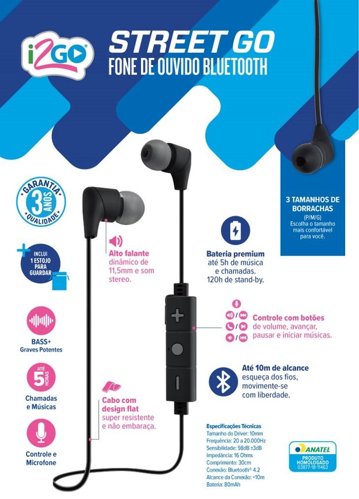 Fone De Ouvido Street Go Bluetooth Com Microfone 30cm Preto Com Cinza