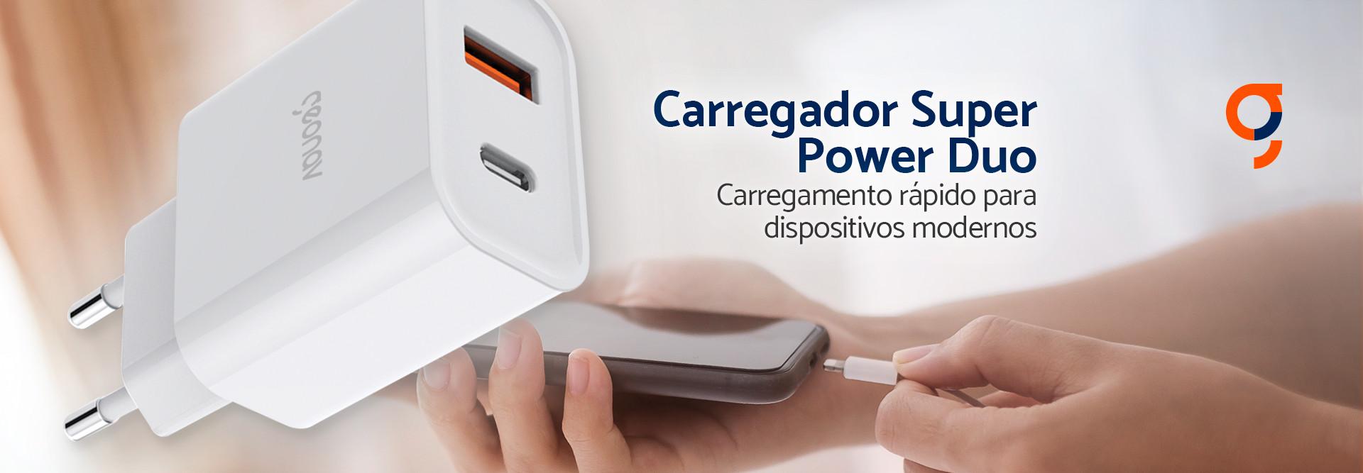 Carregador de celular turbo 2 saídas - 20w usb-c + usb qc 18w - Branco - Geonav