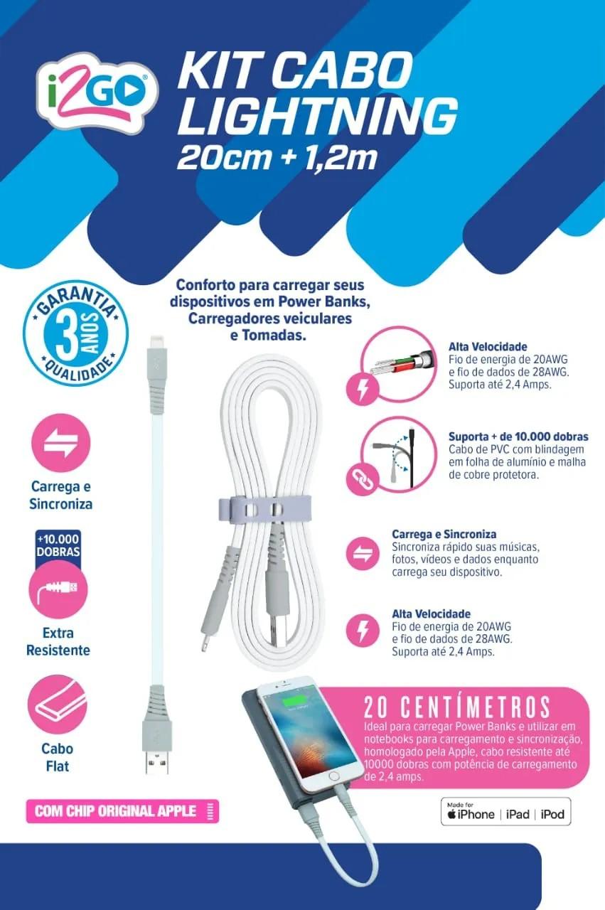 Kit Cabo Lightning I2GO 1,2m 2,4A + Cabo Lightning 20cm 2,4A