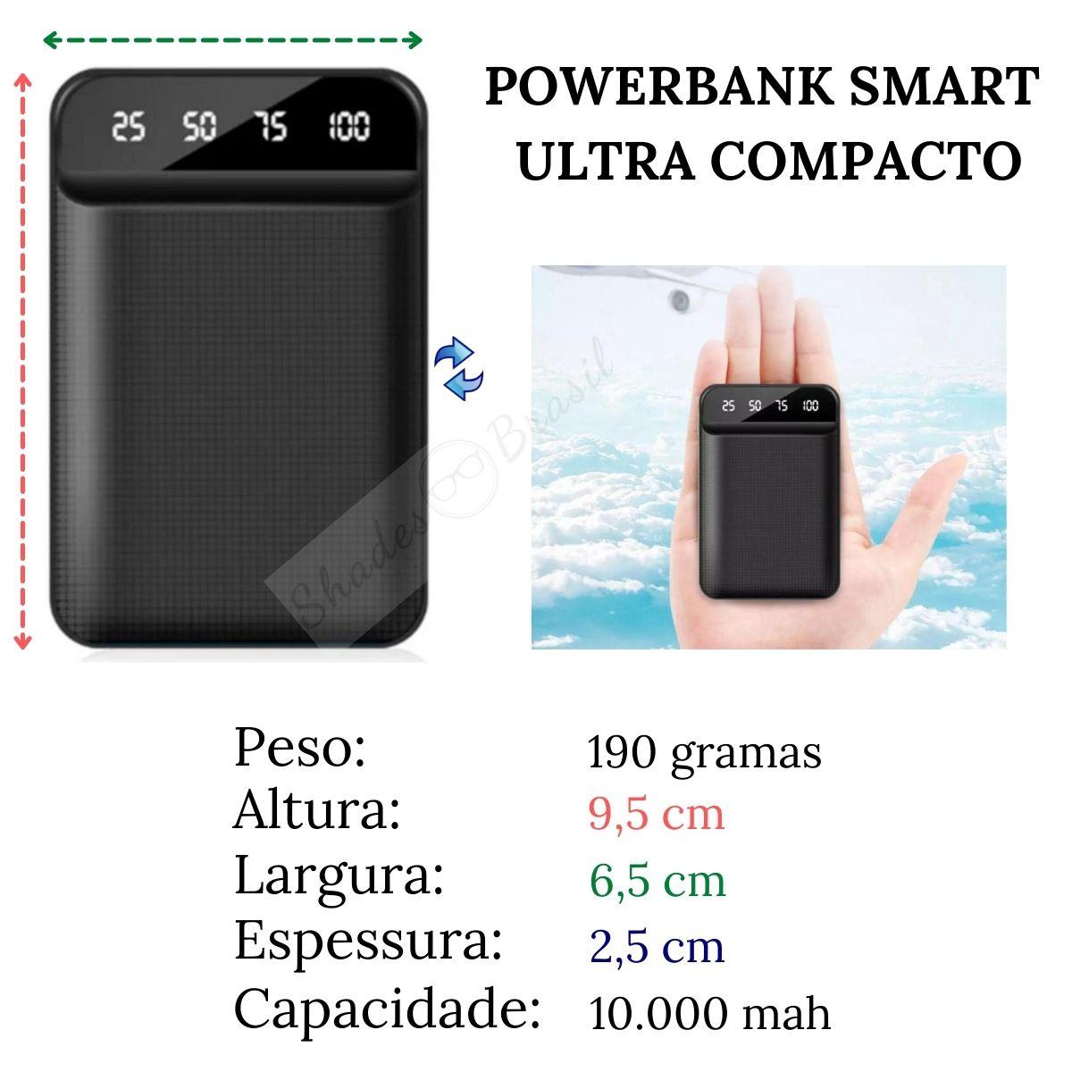KIT Carregador Portátil PowerBank 10.000mah + Cabo USB-C curto