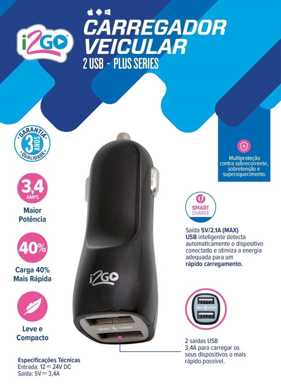 Kit veicular carregador suporte e cabo USB tipo C 3 metros