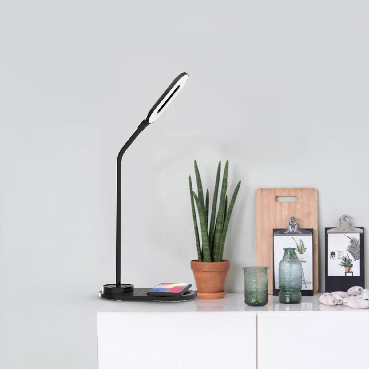 Luminária LED de mesa portátil com carregador por indução