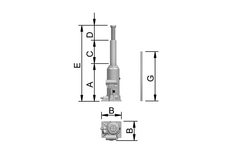 Macaco Hidráulico tipo Garrafa  Linha CJ  15T  Bovenau