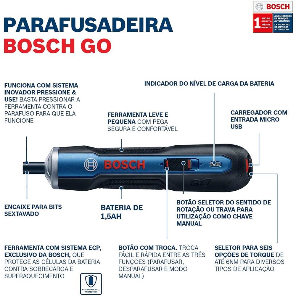 Parafusadeira à Bateria 3,6V Kit Professional - Bosch Go