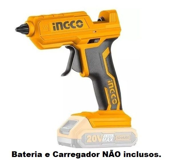 Pistola de Cola Quente à Bateria 20V Profissional Industrial  - Ingco