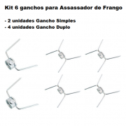 Kit 6 Ganchos Assador de Frango Maqenge