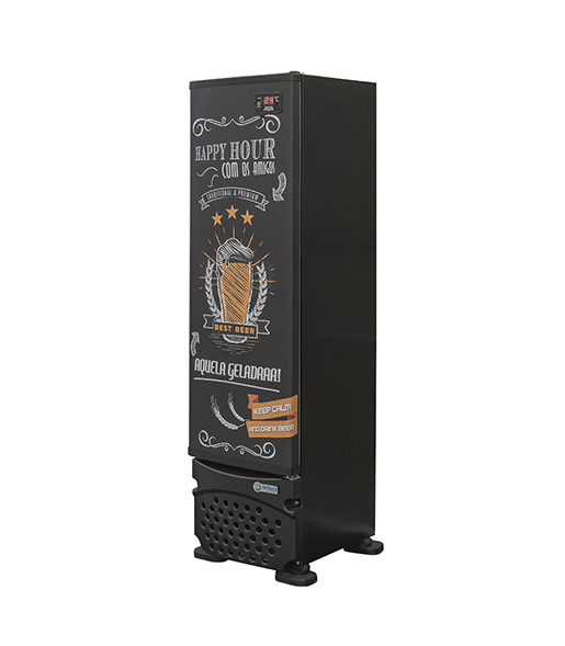 Cervejeira 230 litros Porta Cega Preta Adesivada Imbera CCV144 Linha Happy Hour