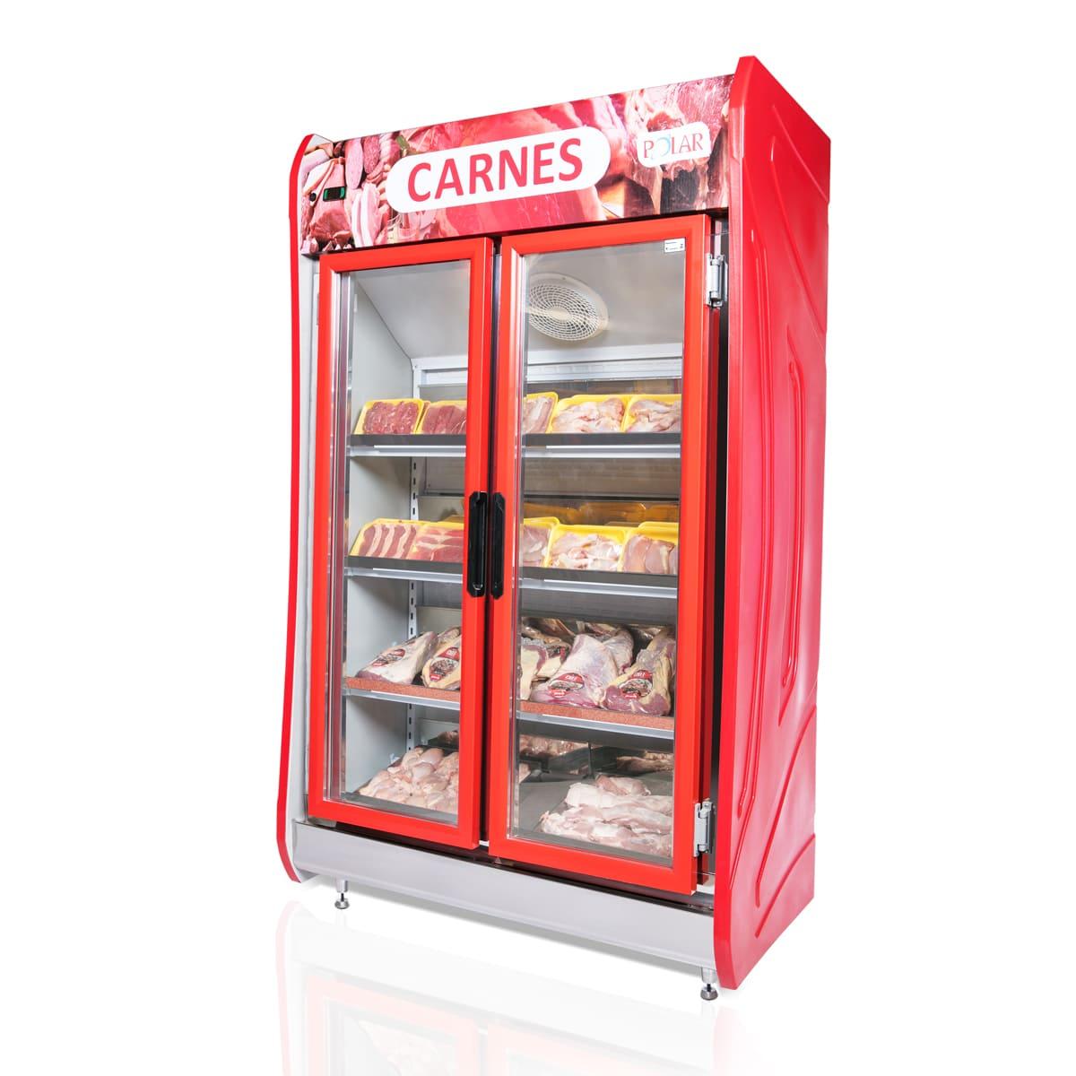 Expositor Vertical Refrigerado Auto Serviço 2 Portas para Carnes 1,25m POLAR