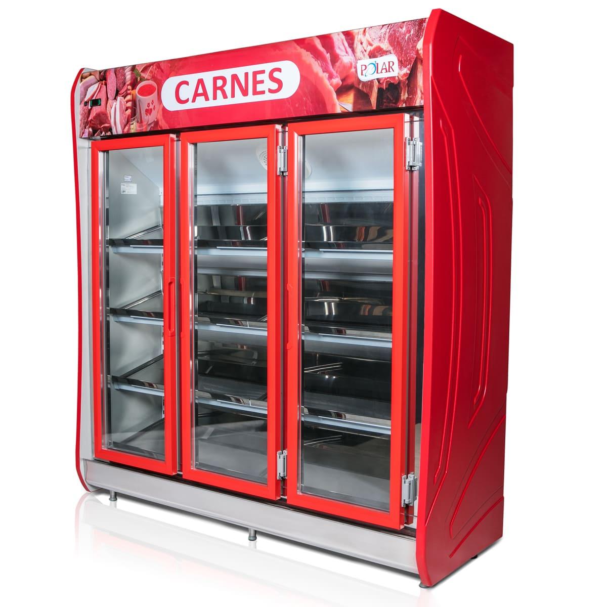 Expositor Vertical Refrigerado Auto Serviço 3 Portas para Carnes 1,90m POLAR