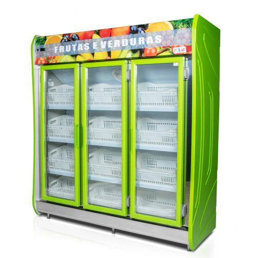 Expositor Vertical Refrigerado Auto Serviço 3 portas para Frutas e Verduras 1,90m POLAR