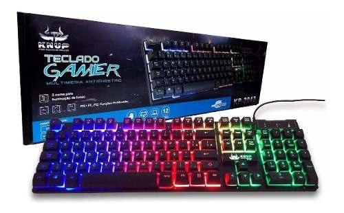 Teclado Gamer Pc Mac Led Usb Semi Mecânico Kp2043