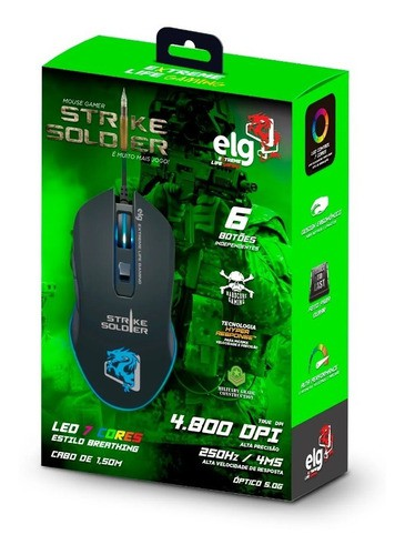 Mouse Gamer Strike Soldier Led 6 Botões 4.800 ELG Dpi - Mgss