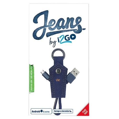 Cabo Micro USB 2.4amps Chaveiro Jeans I2go