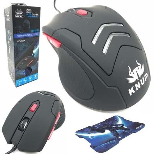 Mouse Gamer Usb C/ Mousepad Knup V36 Led 3200dpi Vermelho