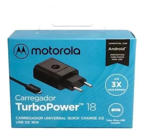 Carregador Turbopower Micro Usb V8 18w Motorola Original