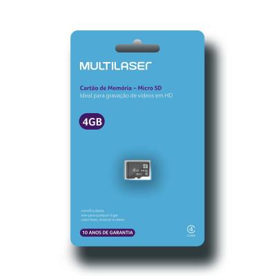 Cartão De Memoria - Multilaser 4GB Micro SD