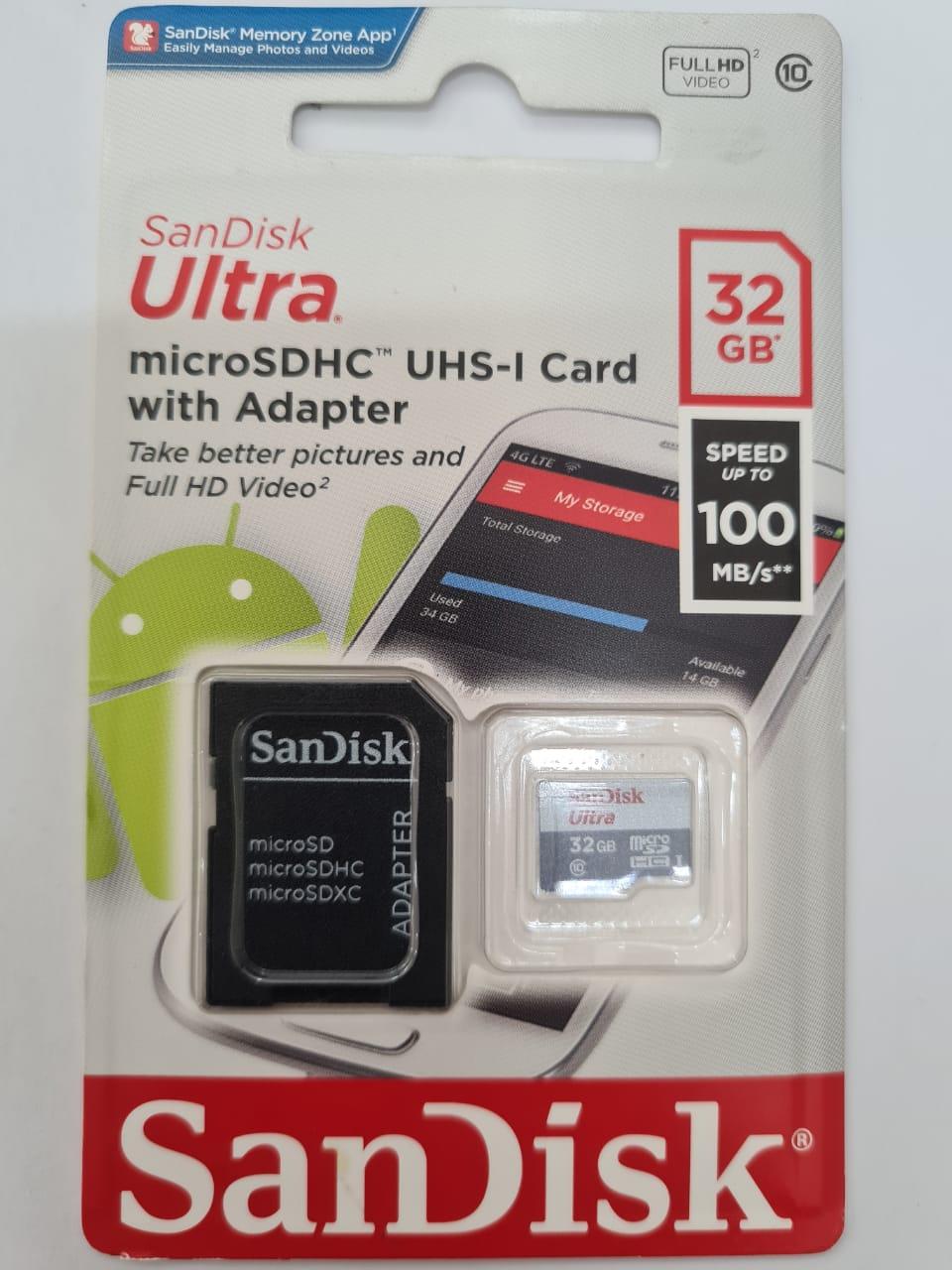 Cartão De Memoria Sandisk 32GB Ultra MicroSdhc 100MBS