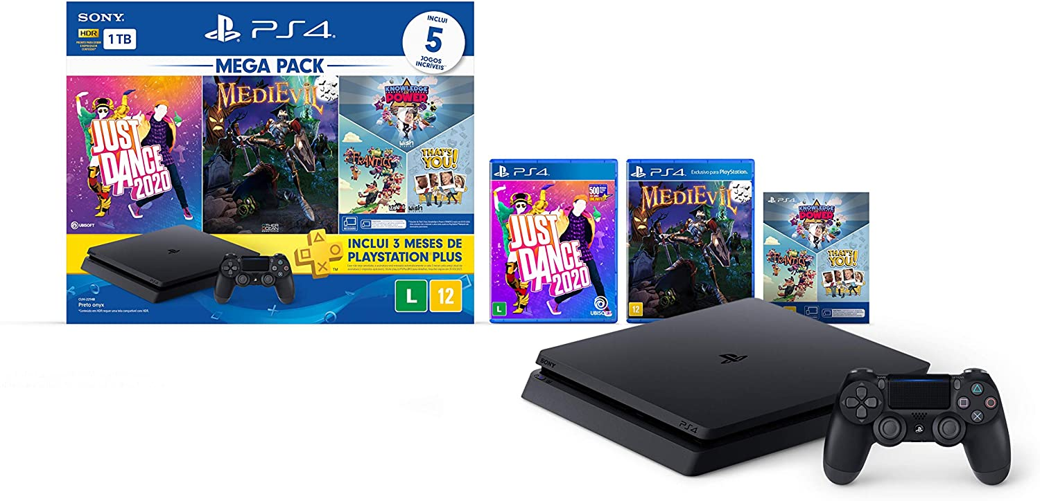 Console PlayStation 4 1TB Bundle 11 - Just Dance 2020, Medievil, Knowledge is Power +Frantics + That's You! - PlayStation 4 + 3 meses psn plus