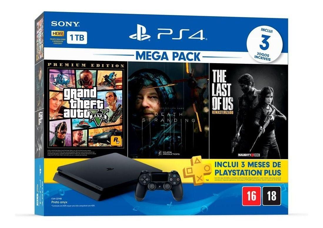 Console PlayStation 4 Mega Pack Bundle V9 1TB 1 Controle - Sony com 3 Jogos