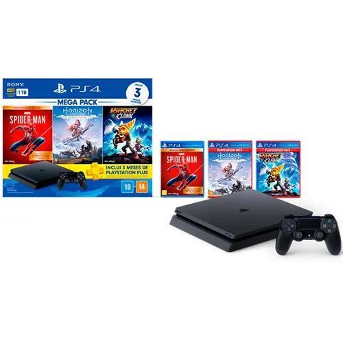 Console Playstation 4 Slim 1TB Bundle Hits 15 - Horizon Zero Dawn Complete + Marvel's Spider-Man Ed. Jogo do Ano + Ratchet & Clank + PSN Plus 3 Meses