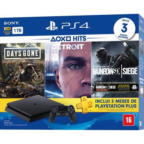 Console Playstation 4 Slim 1TB Hits Bundle 5 + Controle Dualchock 4 - PS4