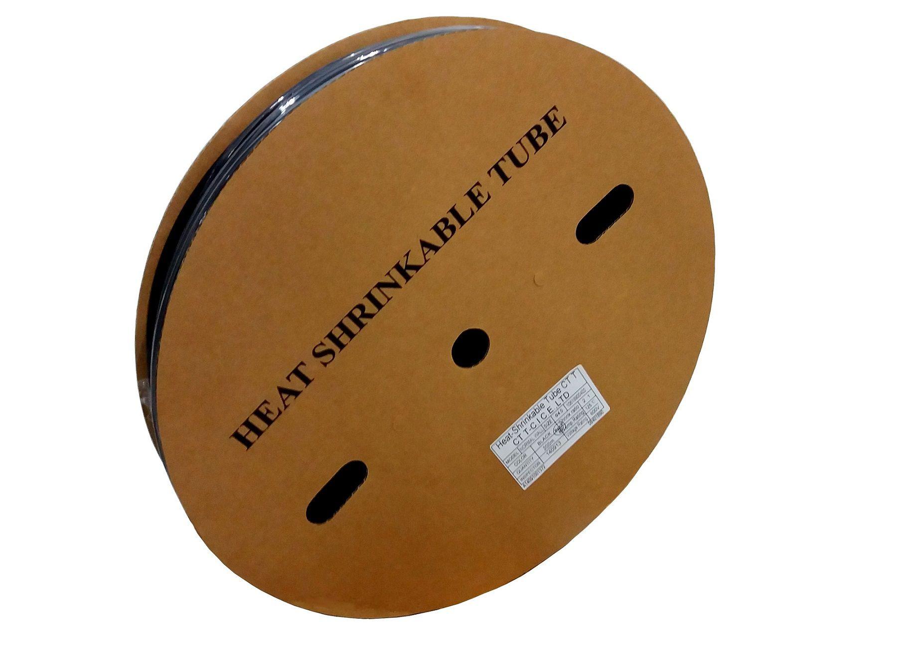 Tubo Termo Retrátil 16mm Cores Variadas (2:1) Rolo Com 100 Metros