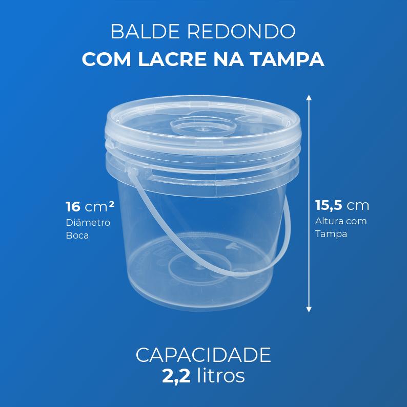Balde 2,2 Litros transparente - Caixa 60und