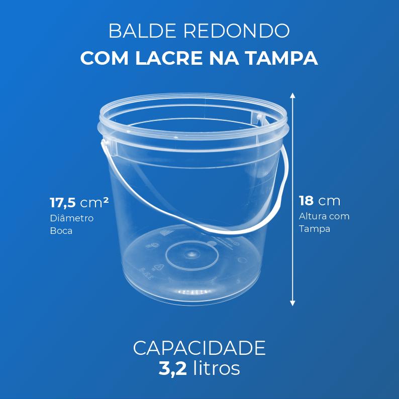 Balde 3,2 Litros transparente - Caixa 60und