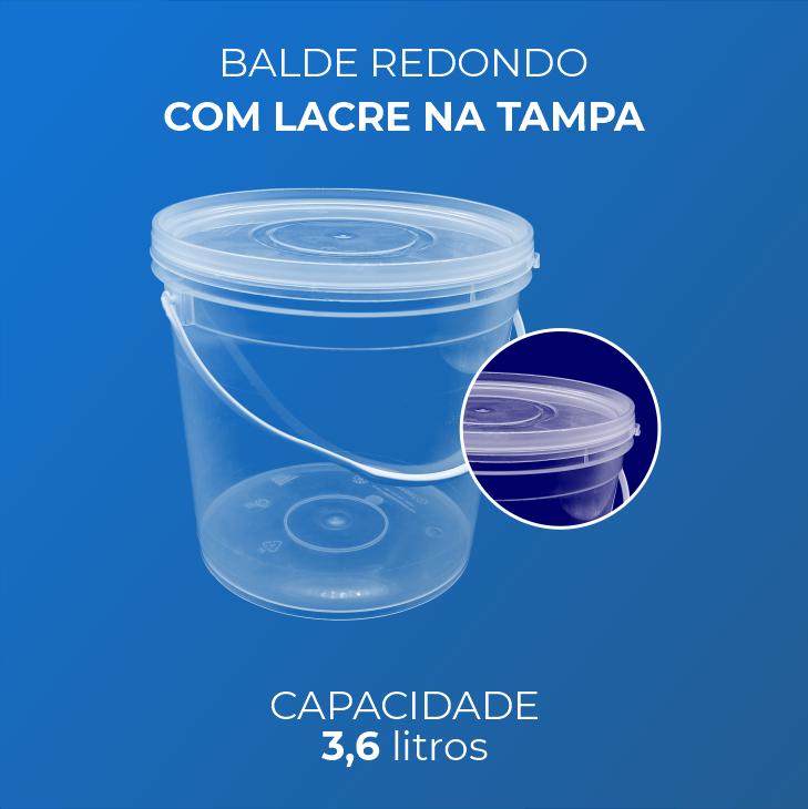 Balde 3,6 Litros transparente - Caixa 60und